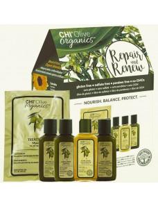 AKЦИЯ - Набор CHI Olive Organics Repair and Renew (sh/59ml + cond/59ml + glaze/59ml + oil/59ml + masque/59ml)