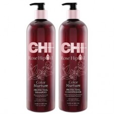 CHI Rose Hip Protecting Shampoo 750 мл + Conditioner 750 мл - Набор для волос
