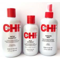 Aкция - Chi Infra Набор для увлажнения и питания волос - (CHI Infra Shampoo 350мл + CHI Keratin Mist 350 мл + CHI silk Infusion 177 мл)