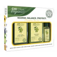 CHI Olive Organics Shampoo, Conditioner, Silk Oil - Набор для питания волос