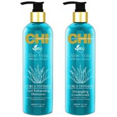 CHI Aloe Vera - Большой набор для вьющихся волос 740 мл*2