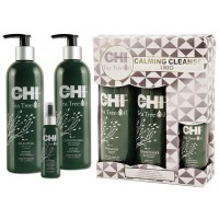 CHI Tea Tree Oil Calming Cleanse Trio - Набор для волос «Чайное дерево» (shm/355ml + cond/355ml + spray/89ml)