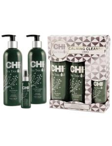 CHI Tea Tree Oil Calming Cleanse Trio - Набор для волос «Чайное дерево» (shm/355ml + cond/355ml + spray/89ml)