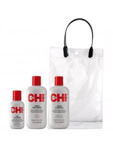 Aкция - Chi Infra Набор для увлажнения и питания волос - (CHI Infra Shampoo 355мл + CHI Infra Treatment355мл + CHI silk Infusion 59мл)