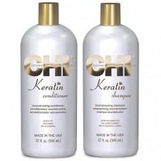 CHI Keratin -  Кератиновый шампунь и кондиционер без сульфатов, 946 мл*2