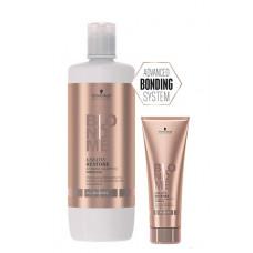 """Schwarzkopf Professional Blondme Keratin Restore Bonding Shampoo - Шампунь-бондинг """"Кератиновое восстановление"""" для всех оттенков блонд, 1000 мл"""