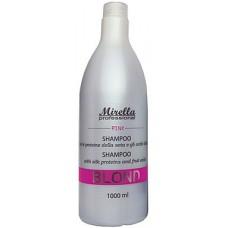 """Mirella Professional Blond Pink Shampoo - Шампунь для светлых, седых и поврежденных волос """"Теплый оттенок"""" 1000 мл"""