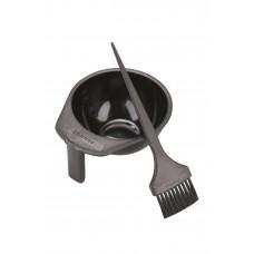 Миска + кисточка черные пластиковые для смешивания красителей, объем 300 мл